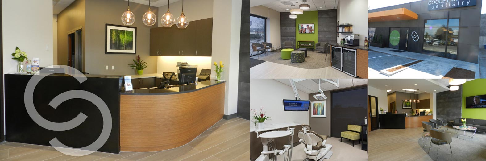 Collage showing front desk, lobby, and operatories of Cooley Smiles Kenmore in Kenmore, WA